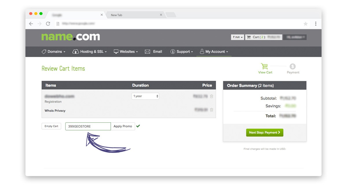 How to apply Name.com discount coupons