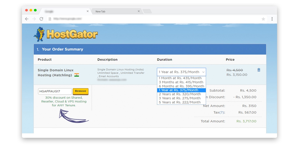 Hostgator India how to apply Discount Coupons