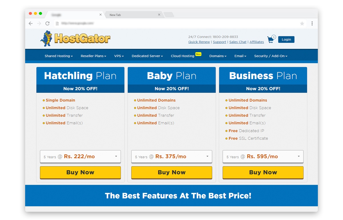 Hostgator India web hosting plans discount coupons